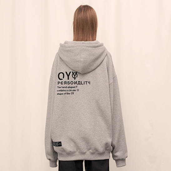 EMBROIDERY  HOODIE - GY