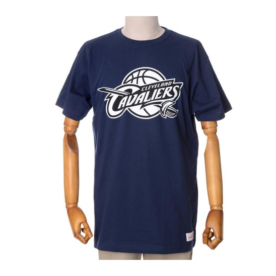 NBA CLEVELAND CAVALIERS BLACK AND WHITE LOGO TRADITIONAL TEE - NAVY
