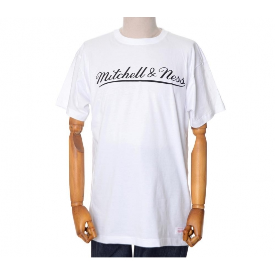 MITCHELL&NESS LOGO SCRIPT TRADITIONAL TEE - WHITE
