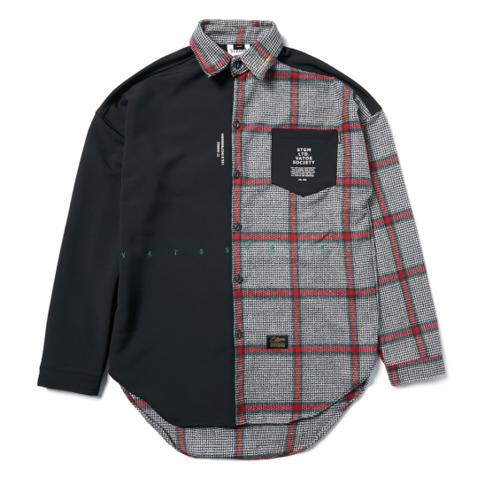 SNAKE OVERSIZED CHECK SHIRTS BLACK