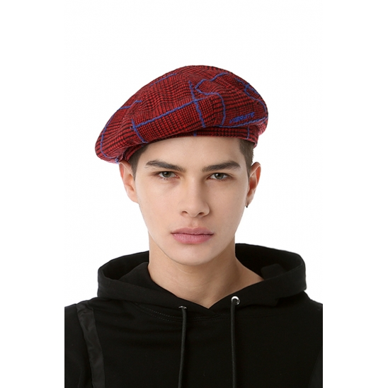 VIBRATE - CHECKED PATTERN BERET (RED & BLUE)