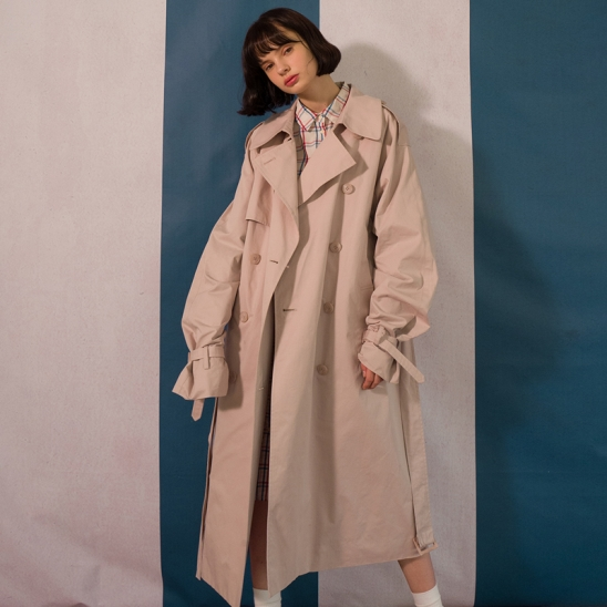 8F Oversized Trench Coat(LIGHT PEACH)