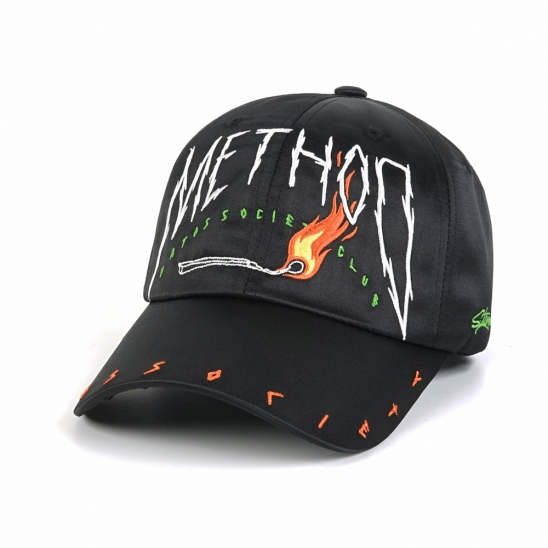 METHOD SATIN BASEBALL CAP BLACK