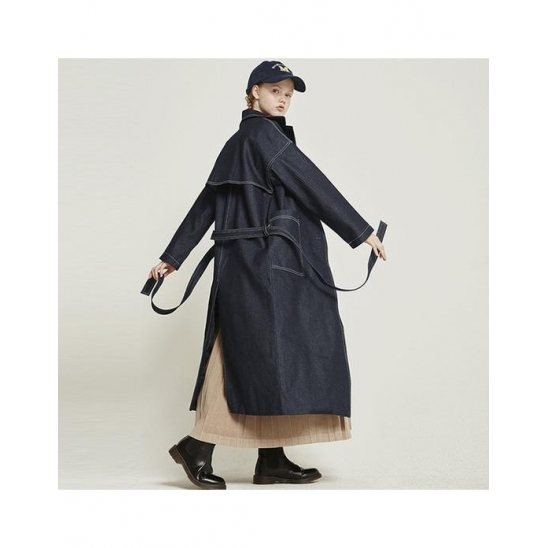 MG8F DENIM TRENCH COAT_NAVY