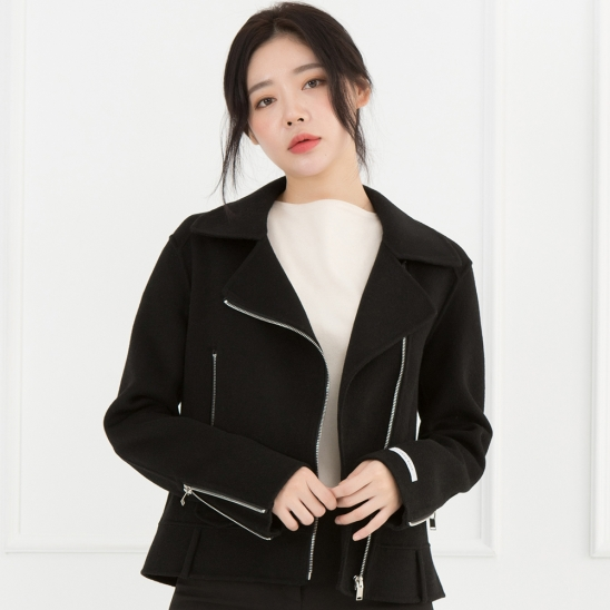 WOMENs WOOL HANDMADE RIDER JACKET (BLACK)