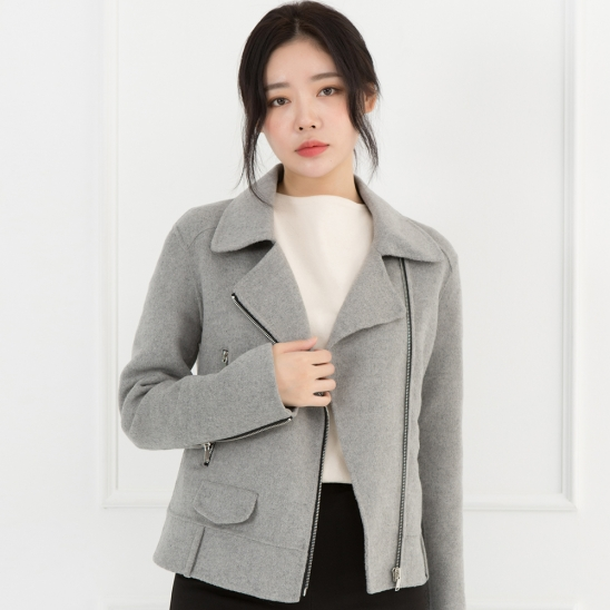 WOMENs WOOL HANDMADE RIDER JACKET (MELANGE GREY)