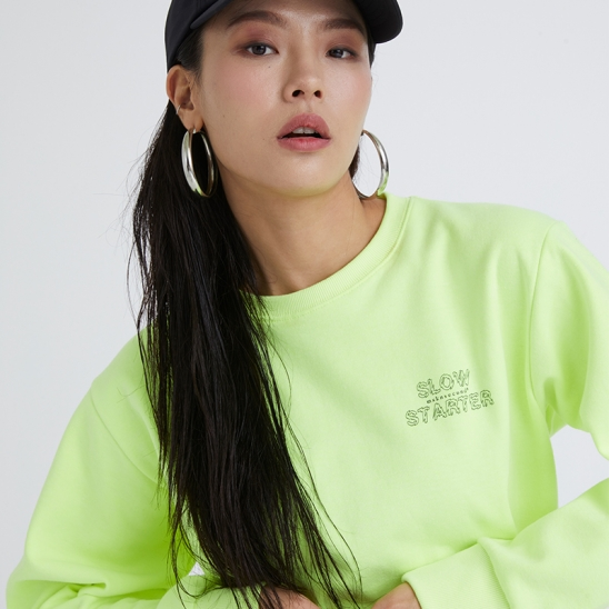 OUTLINE SLOW STARTER SWEATSHIRT NEON YELLOW