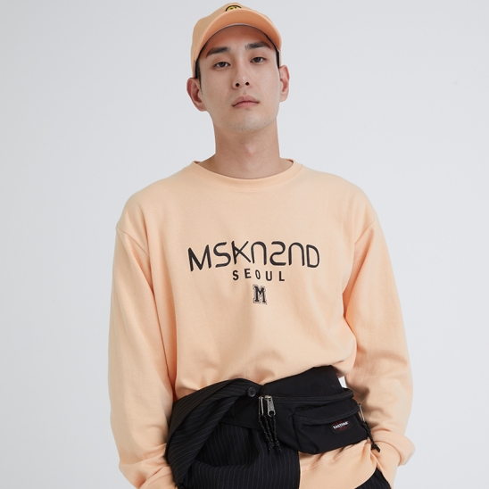 MSKN2ND LOGO PRINTED SWEATSHIRT PEACH