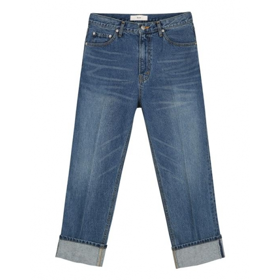 CLASSY TURN-UP JEANS (BLUE)