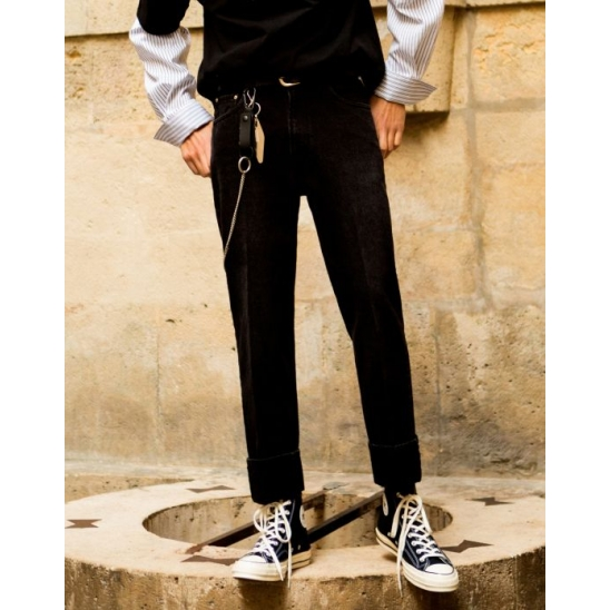 CLASSY TURN-UP JEANS (BLACK)
