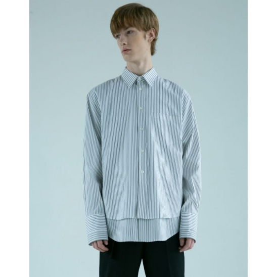 [CIX 배진영 착용] DOUBLE LAYER STRIPED SHIRT (WHITE)