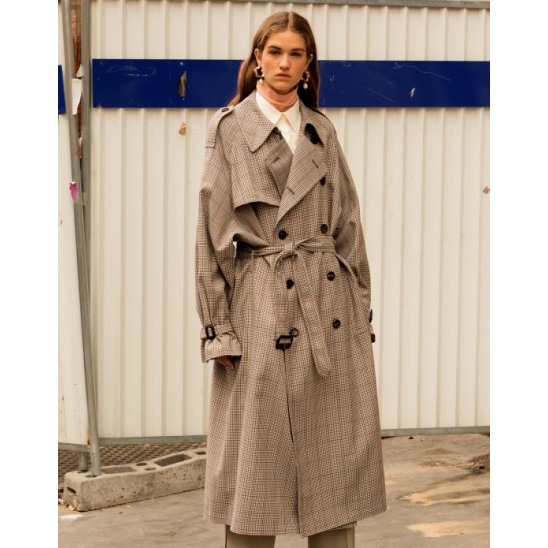 UNISEX DANNY OVERSIZED TRENCH COAT (CHECK)
