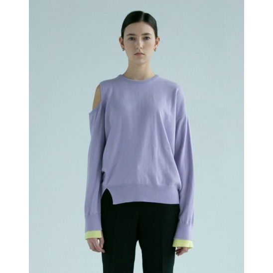 LUNA SHOULDER SLIT SWEATER (PURPLE)