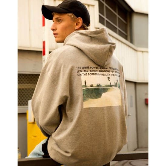 UNISEX IDEALISTE PHOTO PRINTED HOODIE (MELANGE GREY)