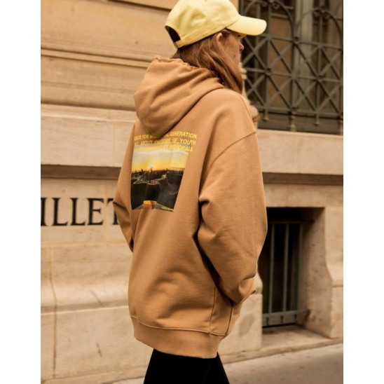 UNISEX IDEALISTE PHOTO PRINTED HOODIE (CAMEL)