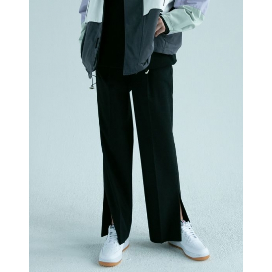 SLIT SEMI-WIDE PANTS (BLACK)