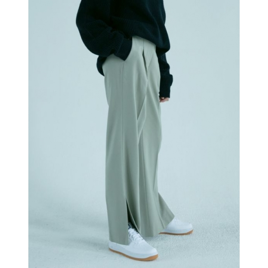 SLIT SEMI-WIDE PANTS (NORMAL GREY)