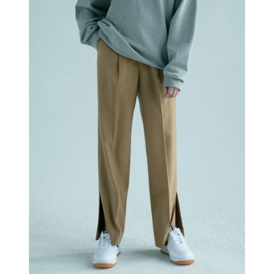 [차정원 착용] SLIT SEMI-WIDE PANTS (NORMAL BROWN)