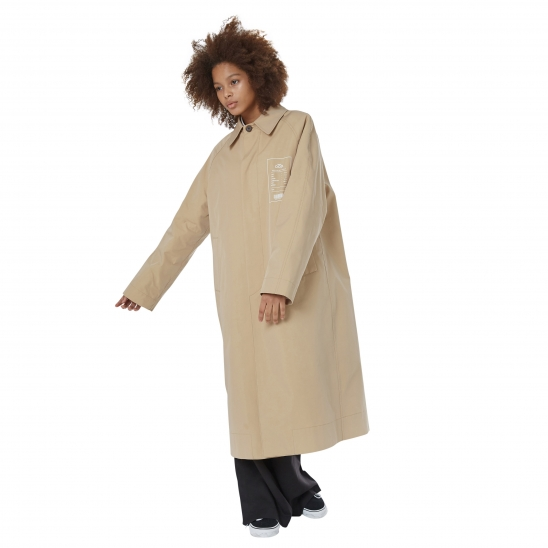 WOMEN_SLIT ZIPPER MAXI MACCOAT (BEIGE)
