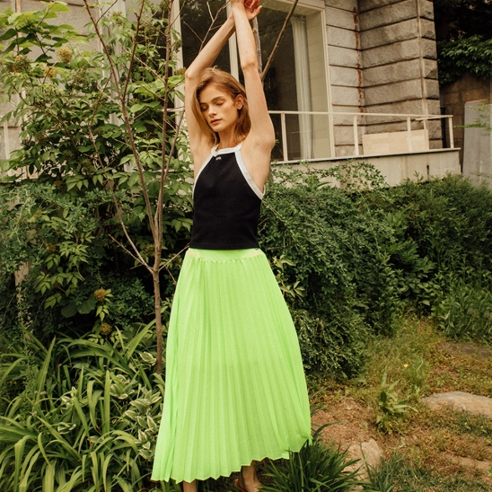 NEON PLEATS BANDING SKIRT (NEON YELLOW)