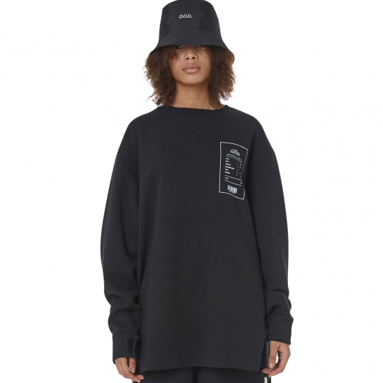 WOMEN_VELCRO DETAIL LONG SLV T (BLACK)