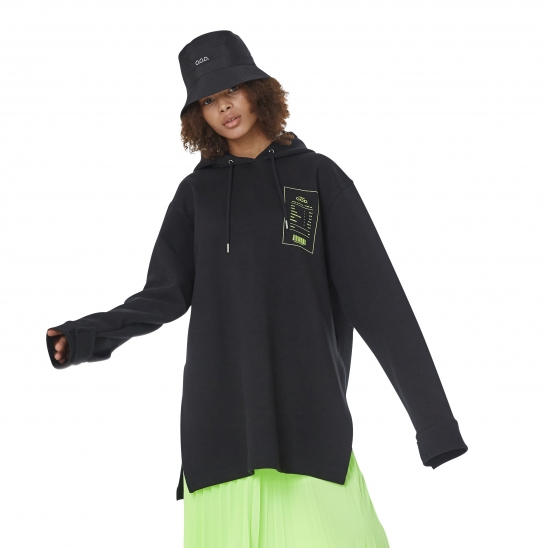 WOMEN_VELCRO DETAIL LONG HOODY (BLACK)