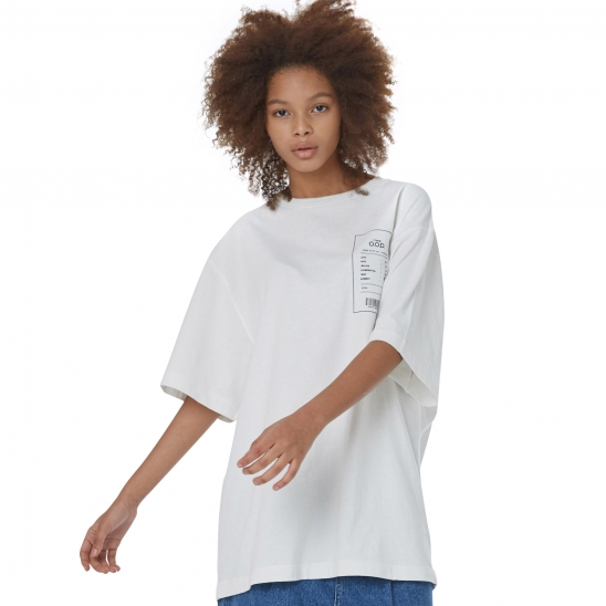 WOMEN_CLEAN TEXTURE OVER TEE (IVORY)