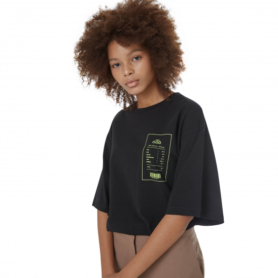 WOMEN_CLEAN TEXTURE OVER TEE (BLACK)