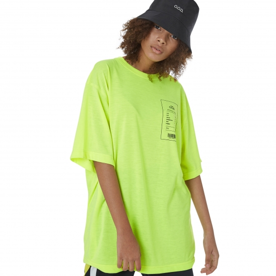 WOMEN_CLEAN TEXTURE OVER TEE (NEON YELLOW)