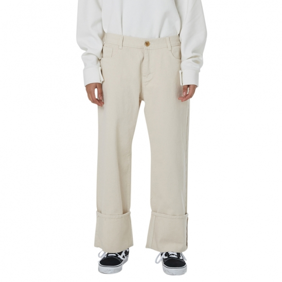 WOMEN_NAPPING COTTON TURN-UP PANTS (OATMEAL)