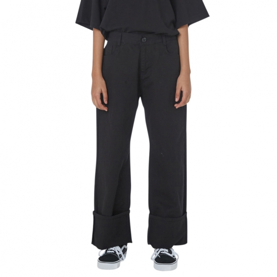 WOMEN_NAPPING COTTON TURN-UP PANTS (BLACK)