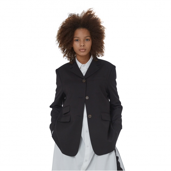 WOMEN_RETRO OVERSIZE SINGLE JK (BLACK)