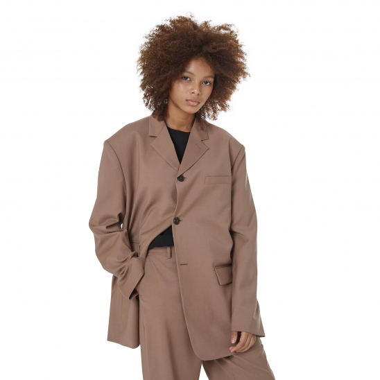 WOMEN_RETRO OVERSIZE SINGLE JK (BROWN)