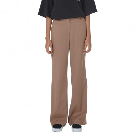 WOMEN_SLIT SEMI WIDE SLACKS (BROWN)