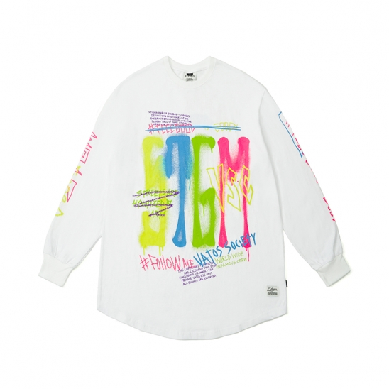 FEEL GOOD LAYERED LONG SLEEVES T-SHIRTS WHITE