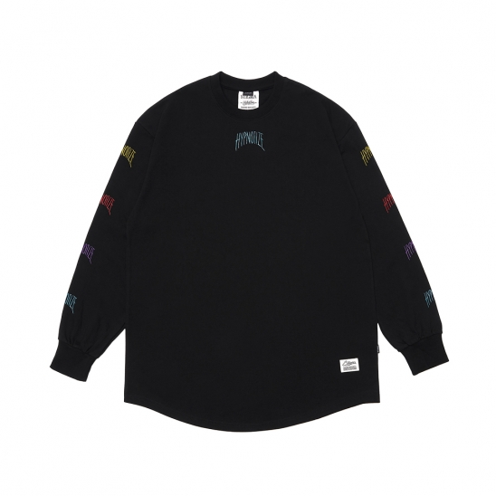 HYPNOTIZE LAYERED LONG SLEEVES T-SHIRTS BLACK