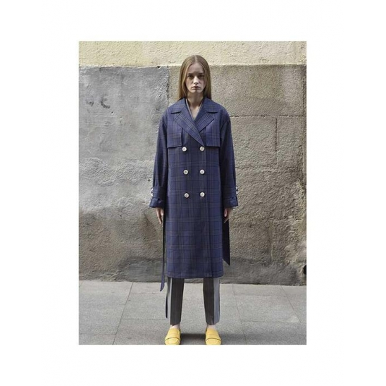 Therese check trench coat(Navy check)
