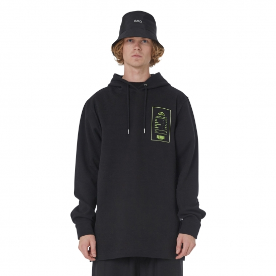 MEN_VELCRO DETAIL LONG HOODY (BLACK)