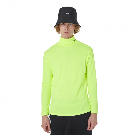 MEN_NEON TURTLENECK LONG SLV TEE (NEON YELLOW)