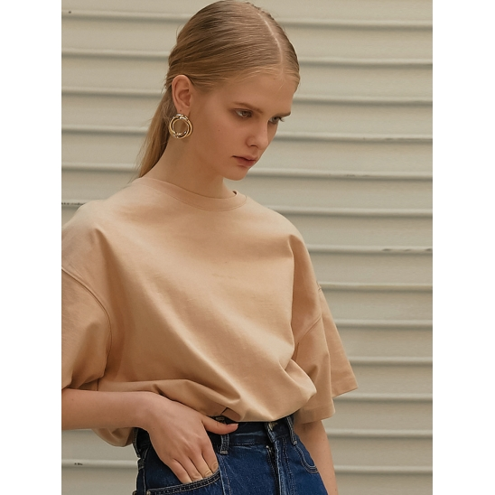BOXY FIT HAIF SLEEVES T-SHIRTS_BEIGE