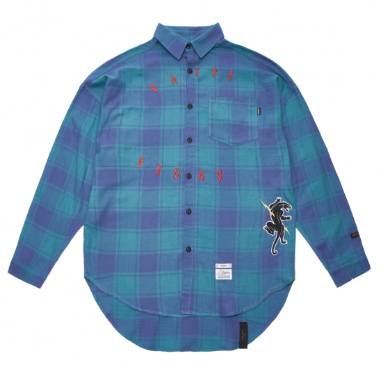 PANTHER OVERSIZED CHECK SHIRTS GREEN
