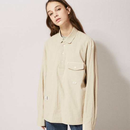 CL075_UBDTY Pullover Linen Shirts_Beige
