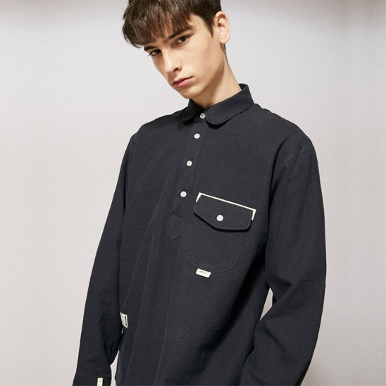 CL077_UBDTY Pullover Linen Shirts_Navy