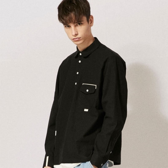 CL078_UBDTY Pullover Linen Shirts_Black