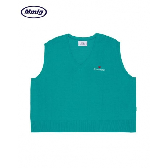 [Mmlg] KNIT VEST (EMERALD GREEN)