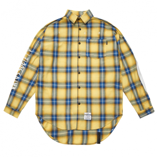 HALLUCINATION OVERSIZED CHECK SHIRTS YELLOW