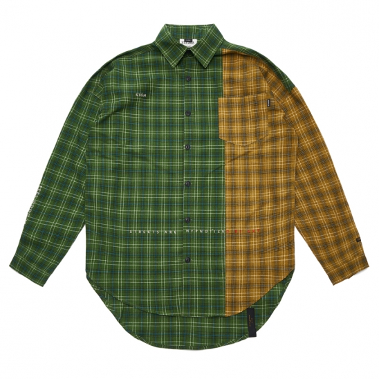 FEEL GOOD HALF OVERSIZED CHECK SHIRTS GREEN