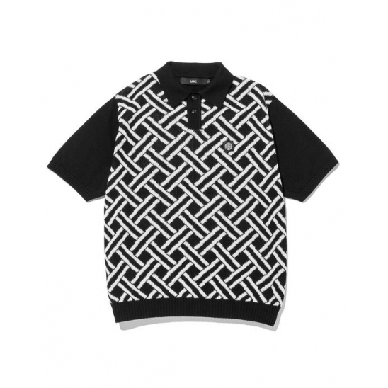 LMC WEAVING PTTN KNIT POLO SHIRT black