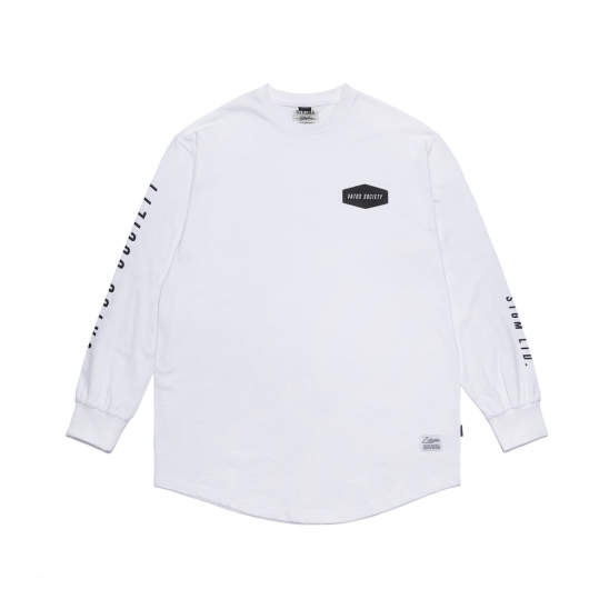 EMBLEM LAYERED LONG SLEEVES T-SHIRTS WHITE