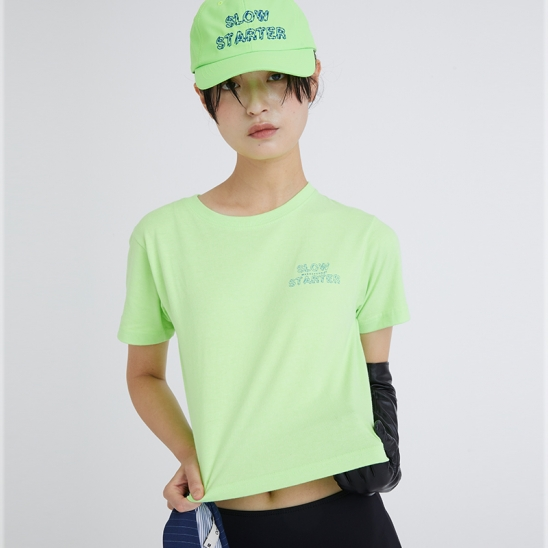 OUTLINE SLOW STARTER CROP SS T-SHIRT NEON GREEN